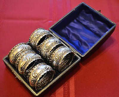 A Fabulous Boxed Set Of 6 Solid Silver Napkin Rings
