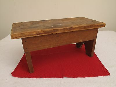 Vtg Antique ? Small Pine Foot Stool Milking Stool Red Wash / Stain