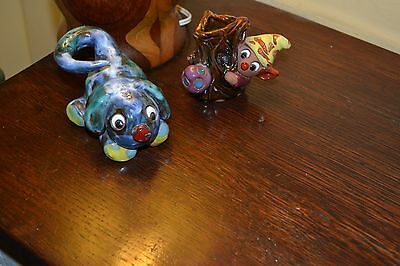 Vintage Studio Pottery  Pixie And Dog Ornaments Tooth Pick Holder