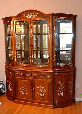 Curio Cabinet with mother-of-pearl inlay