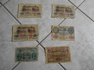 Ww1 German Paper  Money  - Banknotes 5-20-20-50 Lot (6) All Dated 1914!!!!!!!!