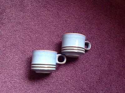 2 Denby Cups Blue With Brown Stripe On Cups