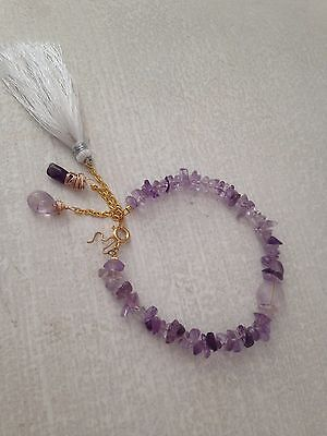 9 ct yellow gold pl natural amethyst bracelet 7 1/4 inches