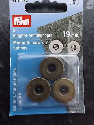 Prym Magnetic Sew On 2 hole Buttons 19mm Antique Brass- per pack of 3 (416472)