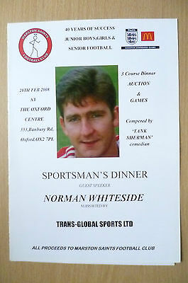 THE OXFORD CENTRE SPORTSMAN'S DINNER MENU:with NORMAN WHITESIDE,28/02/2008