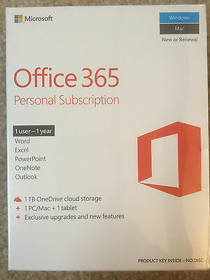 Microsoft Office 365 Personal 1 Year Subscription  PC/Mac +1 Tablet 1 Key Card