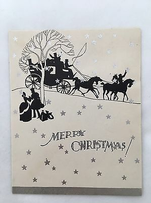 Vintage Art Deco Christmas Card Horse Carriage People House Tree Silver Star