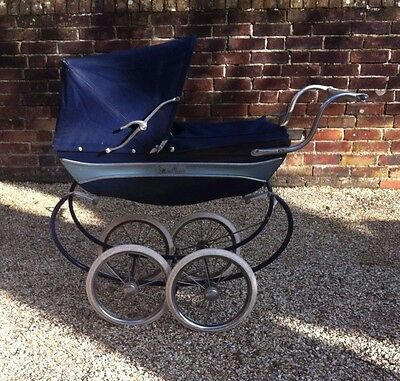 Silver Cross Coach Built Dolls Pram Navy blue. Matching Bag. Vintage early 1970s