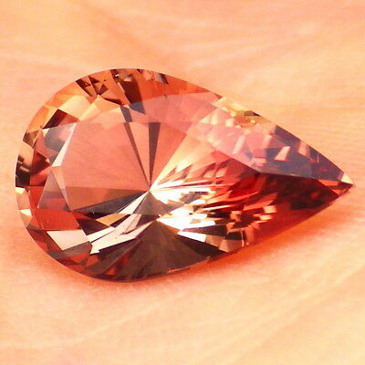 COPPER RED-PINK OREGON SUNSTONE 2.68Ct FLAWLESS-PERFECT FACETING-FOR JEWELRY!