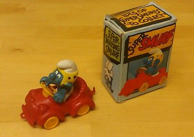 1979 Vintage classic collectable Schleich Peyo red racing car Smurf in box