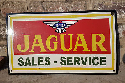 Original Old Vintage Very Rare Jaguar Sales-Service Porcelain Enamel Sign Board