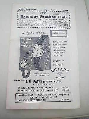 Bromley V Tonbridge Kent Floodlight  Cup1961/2