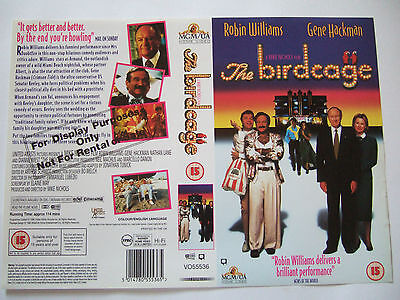 THE BIRDCAGE 1996 RARE UK COMEDY VHS Sample Sleeve MGM Robin Williams / Hackman