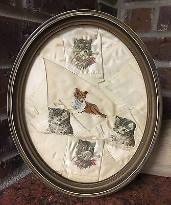 Vintage Framed Dog And Cat Embroidered Picture