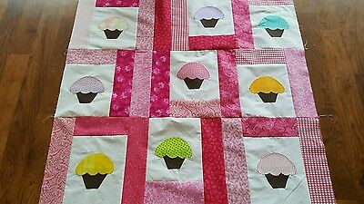 HANDMADE CUP CAKE  QUILT TOP APPROX 38 x 38 (unfinished)
