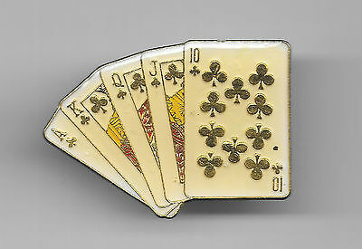 Vintage Straight Flush Hand in Clubs in gold lettering old enamel pin
