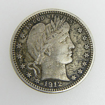 1912 Barber Silver Quarter 25 Cent Coin Great Detail  Nice Coin!!