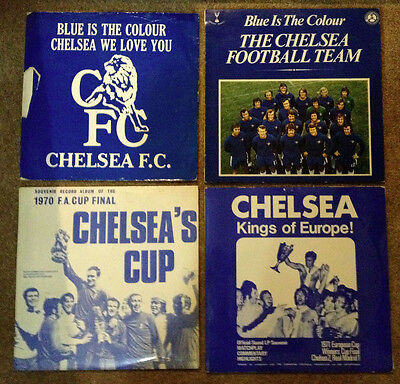 Chelsea - 4 VINYL LPs 1970 fa cup, european cup,blue is the colour +music sheet