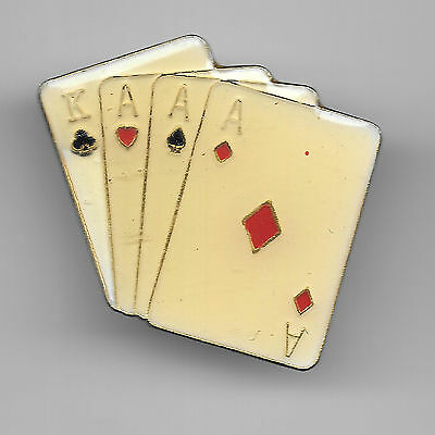 Vintage  3 Aces King  4-card Poker Hand Large old enamel pin