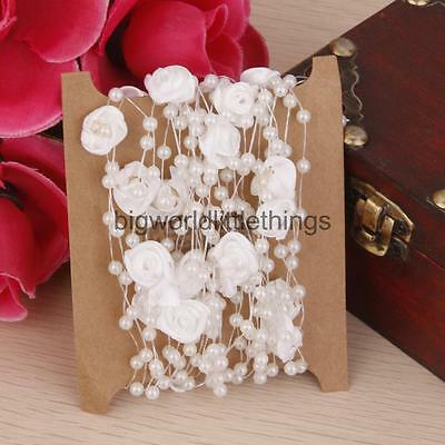 16FT String Of Beads Pearl Necklace Garland Rose Chain Wedding Hanging Decor