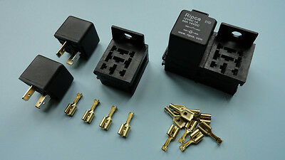 3 x 12V 40A 4 pin relay with holder and terminals