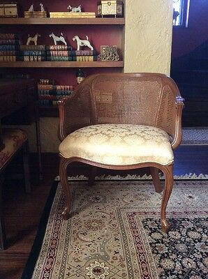 Vintage French Carved Cane Fireside Lounge Accent Arm Living Room Chair