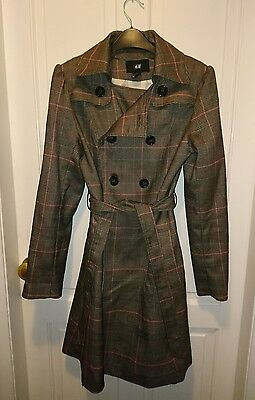 H&M Trench Coat | Tartan/Chequed | Size 8