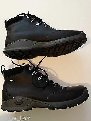 Chaco Mens Black Leather Waterproof Boots Size 10 NEW