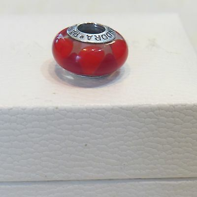 """PANDORA """"Captivating Red Hot"""" Murano Charm (STERLING SILVER S925 ALE)"""