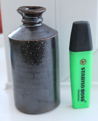"""Brown Stoneware Glazed Ink Bottle 4½"""" High - Shed Clearance"""