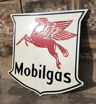 Original Old Vintage Rare Mobil Gas Ad Porcelain Enamel Sign Board, Collectible