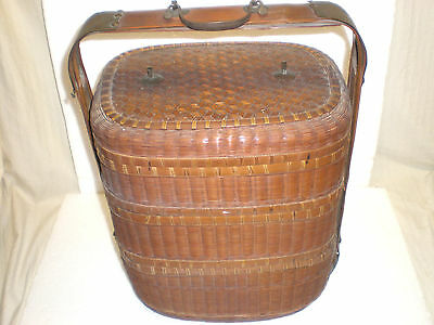 "ANTIQUE CHINESE 3~TIER 18"" WEDDING BASKET ~BAMBOO / WICKER w/ BRASS FITTINGS"