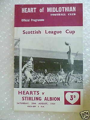 1959 HEART OF MIDLOTHIAN v STIRLING ALBION, 29th Aug (Scottish League Cup)