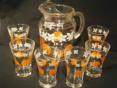 Vintage Retro Water Jug and Glasses set
