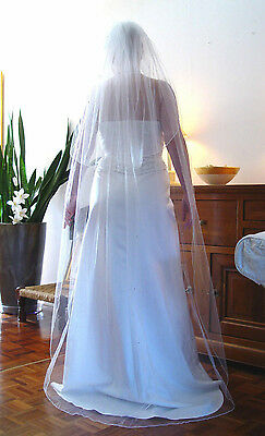 "25"" & 72"" Short Chapel Ivory Veil + Swarovski Transparent Crystals Wedding Uk"
