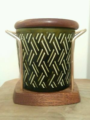 Retro Green Lord Nelson Pottery Jar Pot Wyncraft Condiment Wooden Display Stand