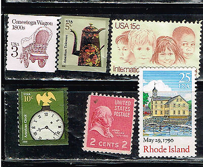 (14-192) 6 Assorted Unpostmarked  US  Postage sTamps