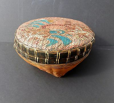 Antique Asian Wedding LIDDED WOVEN BASKET Hand Painted Landscape  GREAT SHAPE