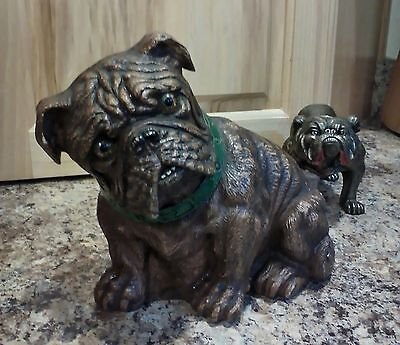 "Antique Vintage Syroco Wood Bulldog Doorstop Bookend Large 7"" Bull Dog Statue"