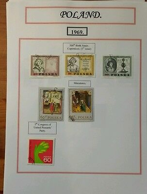 Polish Stamps 1969 to 1972. 12 pages from an album