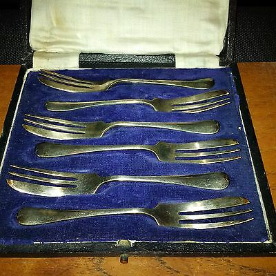 Pastry Forks Silver Plate x 6 Levesly Brothers Old/Vintage