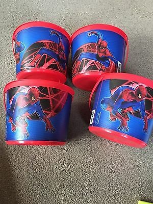 4 Spider-Man Party Pots Sweets Crisps Favors Gifts  With Handle