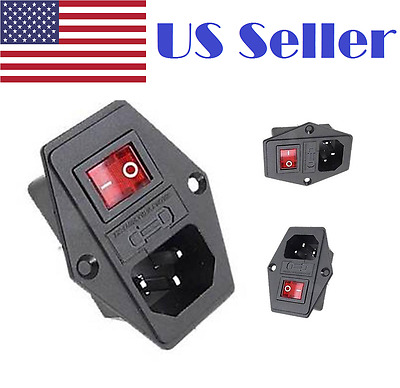 10A 120V Inlet Module Plug Fuse Switch Male Power Socket IEC320