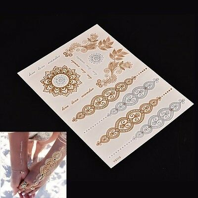 Fashion Gold Silver Metallic Temporary Tattoos Stickers Temporary Body Art Tatoo