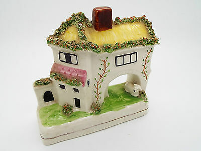 Collectable Staffordshire Flat Back Ceramic Ornament Lamb & Dwelling - House