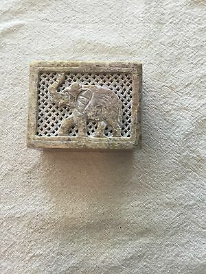 Beautiful Gray Marble or Granite  Box with Elephant Drawing for Decoration