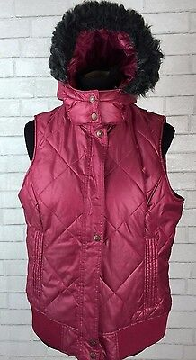 164 ARIAT WOMENS QUILTED FUR LINED HOODED VEST horses western rodeo puffer Large