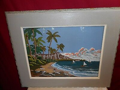 Vintage Framed Tropical Island Scene Hand Crafted Wall Hanging - Gorgeous!