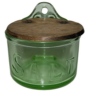 Depression Glass RARE Green Round Embossed Salt Box / Possibly Jeannette