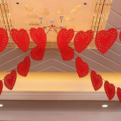3m Heart Nonwovens Fabric Flag Party Garland Decor Banner Bunting Wedding JS